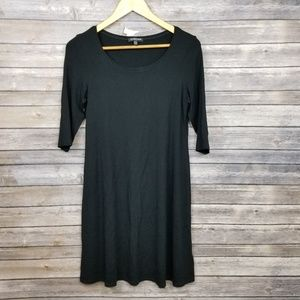 Eileen Fisher Womens Black Knit Shift Rayon Dress
